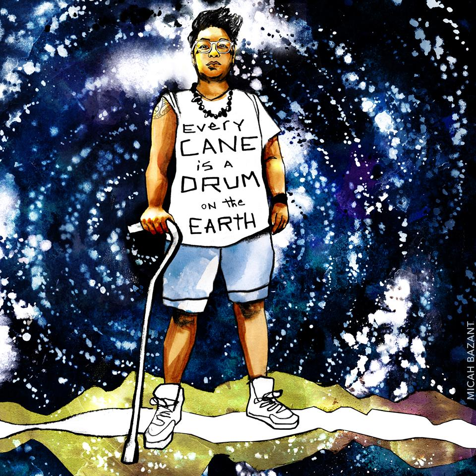 "Drawing of a black disabled person standing with their cane wearing a tshirt that says ""every cane is a drum on the earth."""